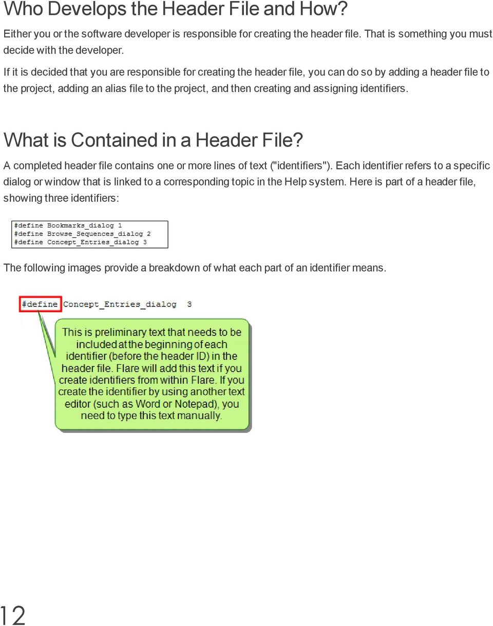 "assigning identifiers. What is Contained in a Header File? A completed header file contains one or more lines of text (""identifiers"")."