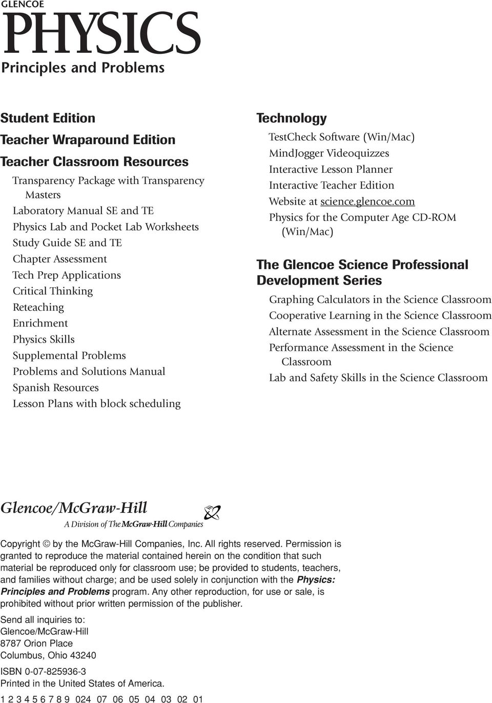 worksheet The Mcgraw Hill Companies Worksheet Answers glencoe physics principles and problems solutions spanish resources lesson plans with block scheduling technology testcheck software winmac mindjogger