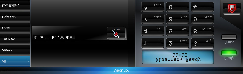 Security module You can toggle between a quick look at your security system s status, or bring up a keypad to control your security system.