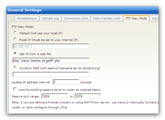 "Quick Start 17 1. Login to Wing FTP Server Administration. 2. Navigate to ""Domains->Settings->General Settings"". 3."