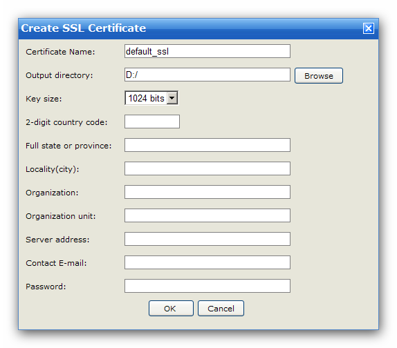 "Server 45 If you do not have any certificate file, click the ""Create Certificate File"" button, then a certificate creation form will appear."