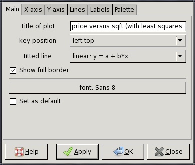 Chapter 6. Graphs and plots 37 GUI plot editor Selecting the Edit option in the graph popup menu opens an editing dialog box, shown in Figure 6.1.