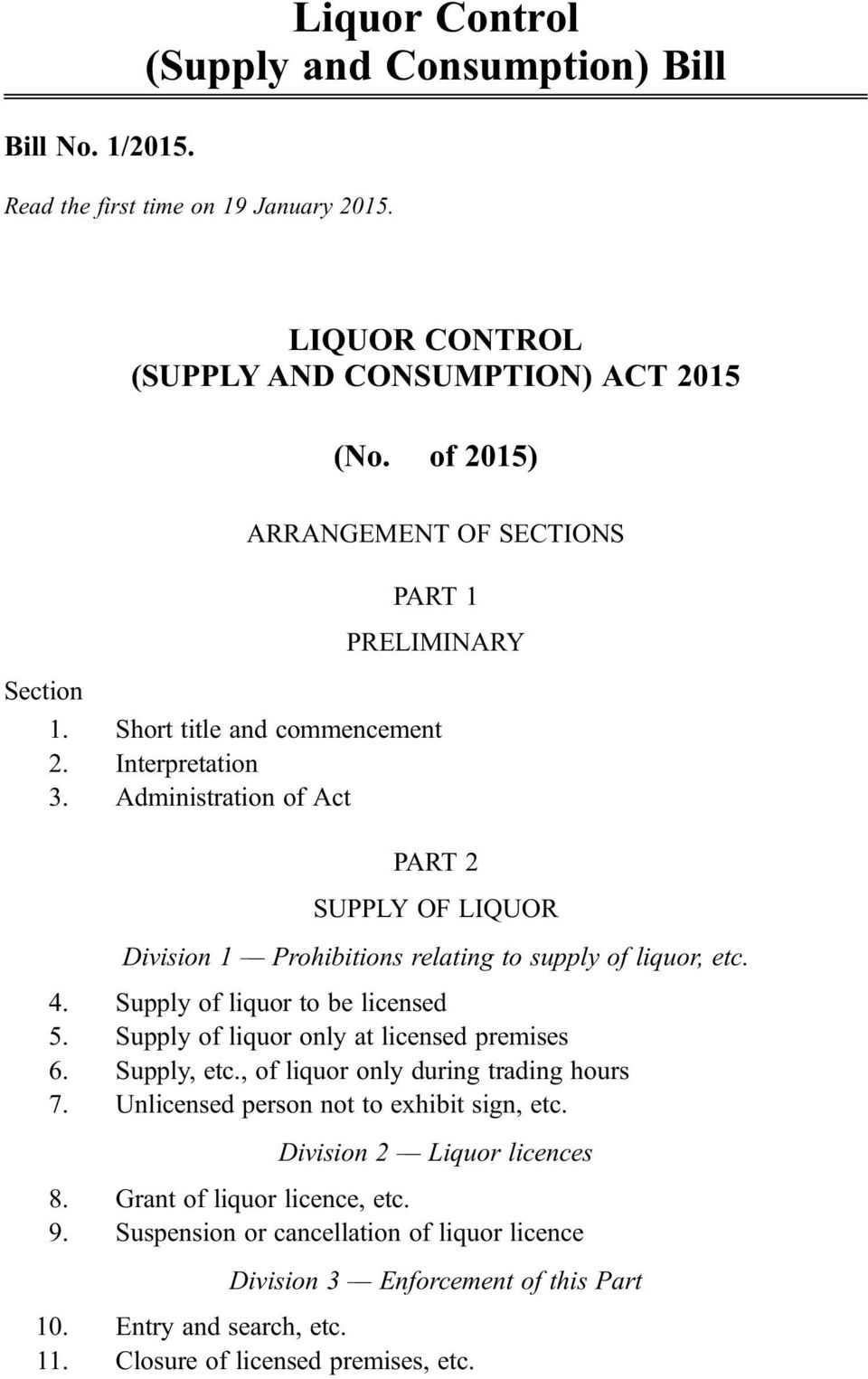 Administration of Act PART 2 SUPPLY OF LIQUOR Division 1 Prohibitions relating to supply of liquor, etc. 4. Supply of liquor to be licensed 5. Supply of liquor only at licensed premises 6.