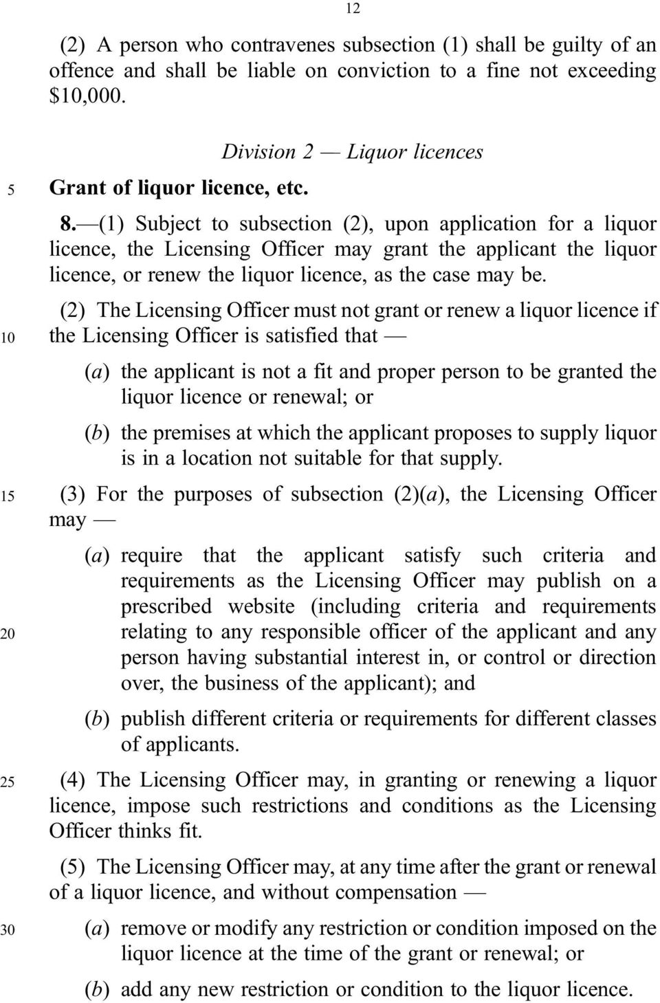 (2) The Licensing Officer must not grant or renew a liquor licence if 10 the Licensing Officer is satisfied that (a) the applicant is not a fit and proper person to be granted the liquor licence or