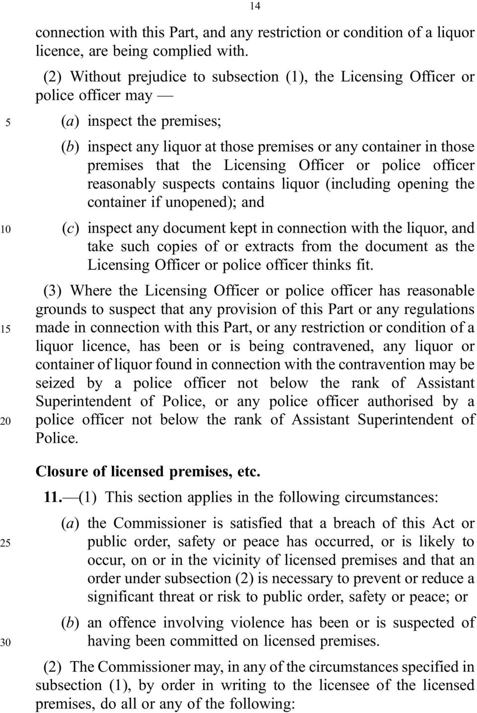 Licensing Officer or police officer reasonably suspects contains liquor (including opening the container if unopened); and 10 (c) inspect any document kept in connection with the liquor, and take