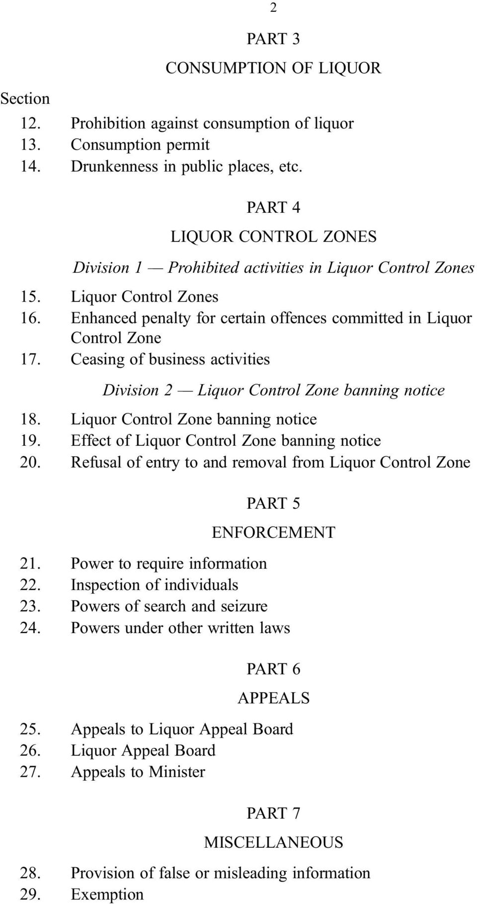 Ceasing of business activities Division 2 Liquor Control Zone banning notice 18. Liquor Control Zone banning notice 19. Effect of Liquor Control Zone banning notice 20.