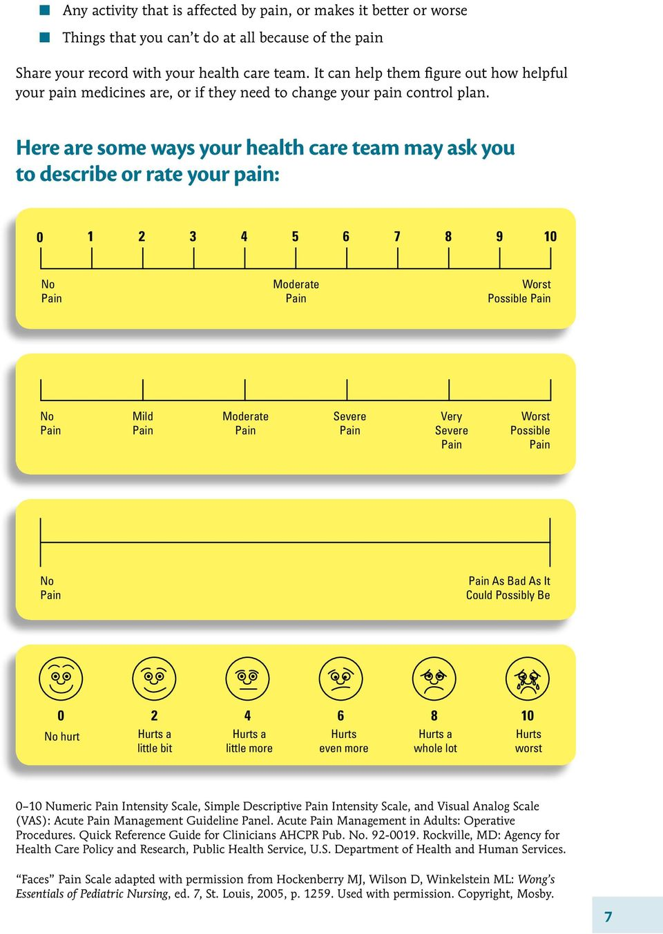 Here are some ways your health care team may ask you to describe or rate your pain: 0 1 2 3 4 5 6 7 8 9 10 No Pain Moderate Pain Worst Possible Pain No Pain Mild Pain Moderate Pain Severe Pain Very