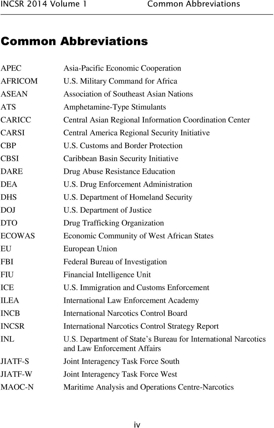 Military Command for Africa Association of Southeast Asian Nations Amphetamine-Type Stimulants Central Asian Regional Information Coordination Center Central America Regional Security Initiative U.S. Customs and Border Protection Caribbean Basin Security Initiative Drug Abuse Resistance Education U.