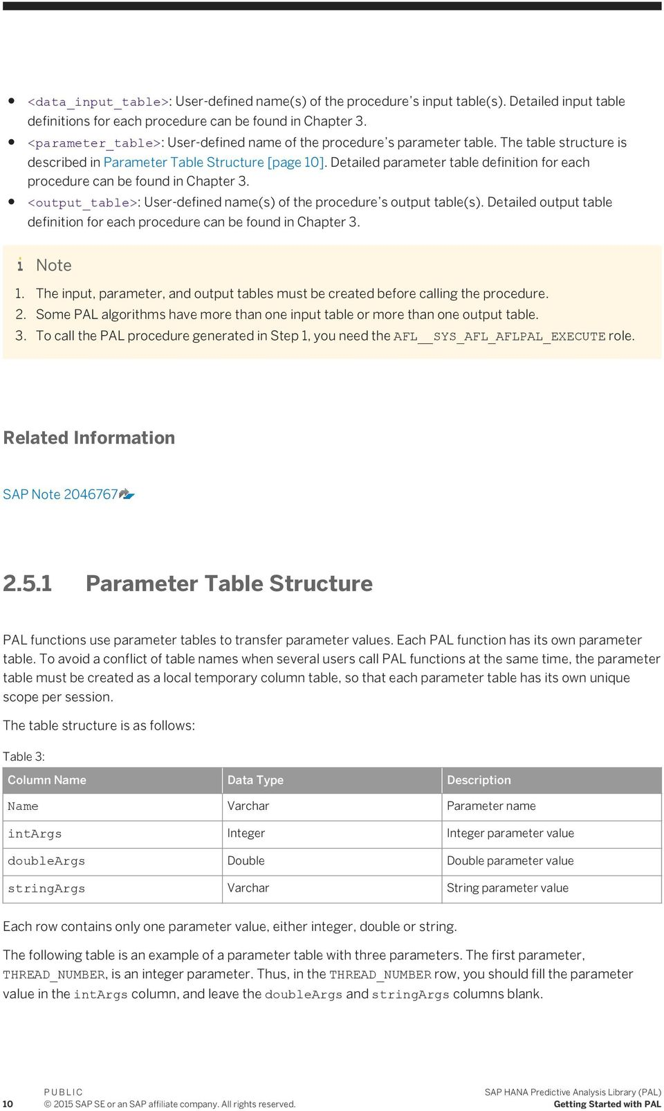 Detailed parameter table definition for each procedure can be found in Chapter 3. <output_table>: User-defined name(s) of the procedure s output table(s).