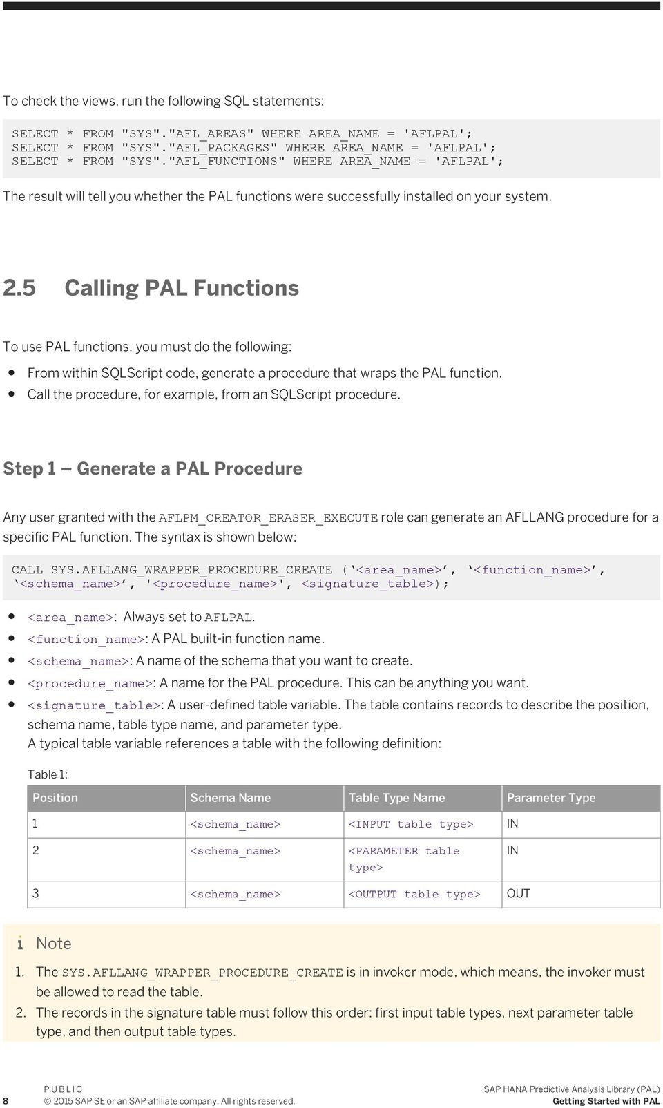 5 Calling To use PAL functions, you must do the following: From within SQLScript code, generate a procedure that wraps the PAL function. Call the procedure, for example, from an SQLScript procedure.
