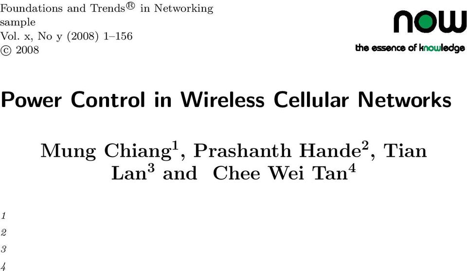 in Wireless Cellular Networks Mung Chiang 1,