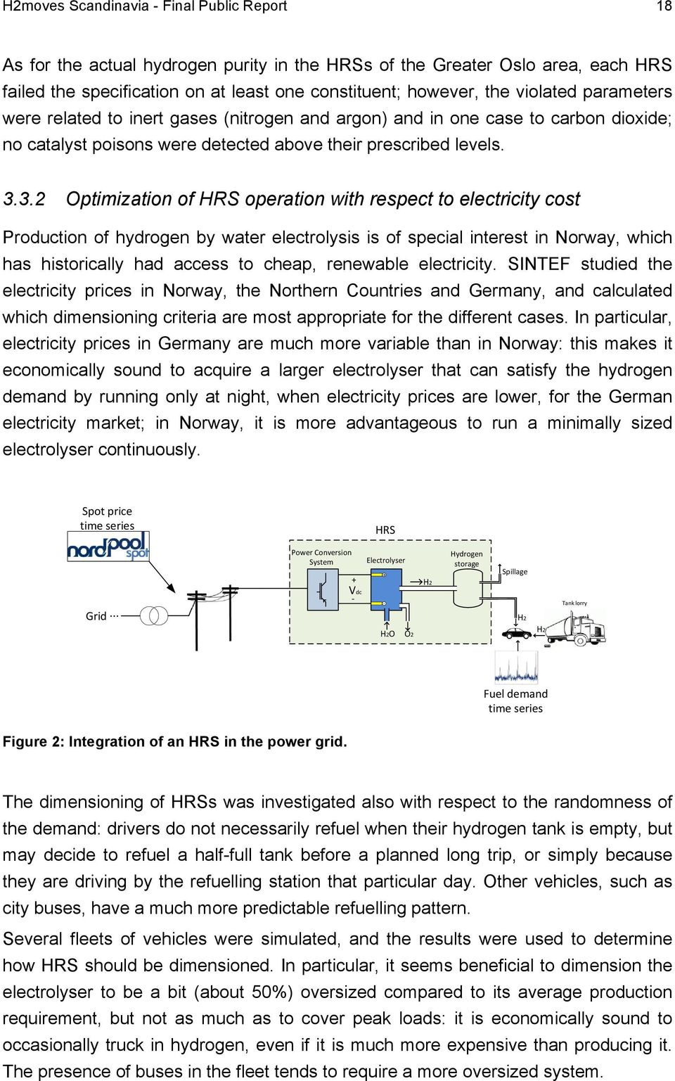 3.2 Optimization of HRS operation with respect to electricity cost Production of hydrogen by water electrolysis is of special interest in Norway, which has historically had access to cheap, renewable
