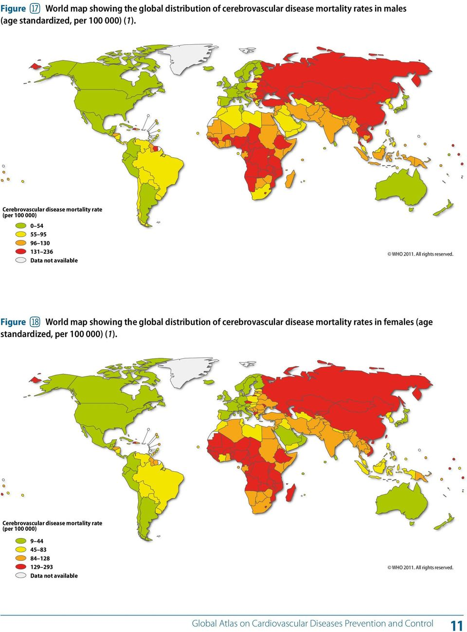 Figure bt World map showing the global distribution of cerebrovascular disease mortality rates in females (age standardized, per 100