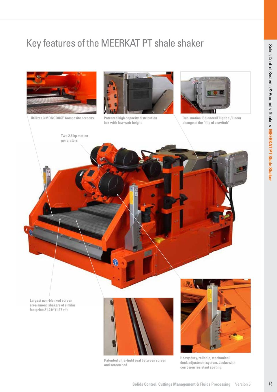 Solids Control Systems & Products: Shakers MEERKAT PT Shale Shaker Largest non-blanked screen area among shakers of similar footprint: 21.2 ft² (1.