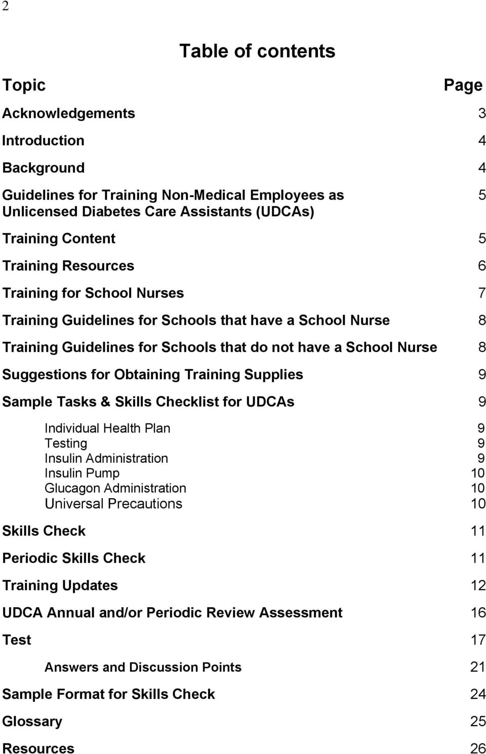 Obtaining Training Supplies 9 Sample Tasks & Skills Checklist for UDCAs 9 Individual Health Plan 9 Testing 9 Insulin Administration 9 Insulin Pump 10 Glucagon Administration 10 Universal Precautions