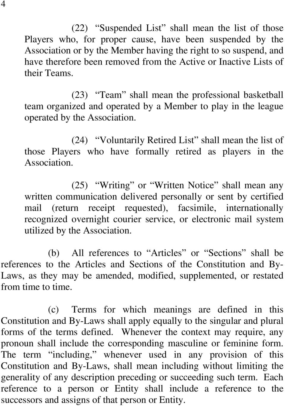 (24) Voluntarily Retired List shall mean the list of those Players who have formally retired as players in the Association.