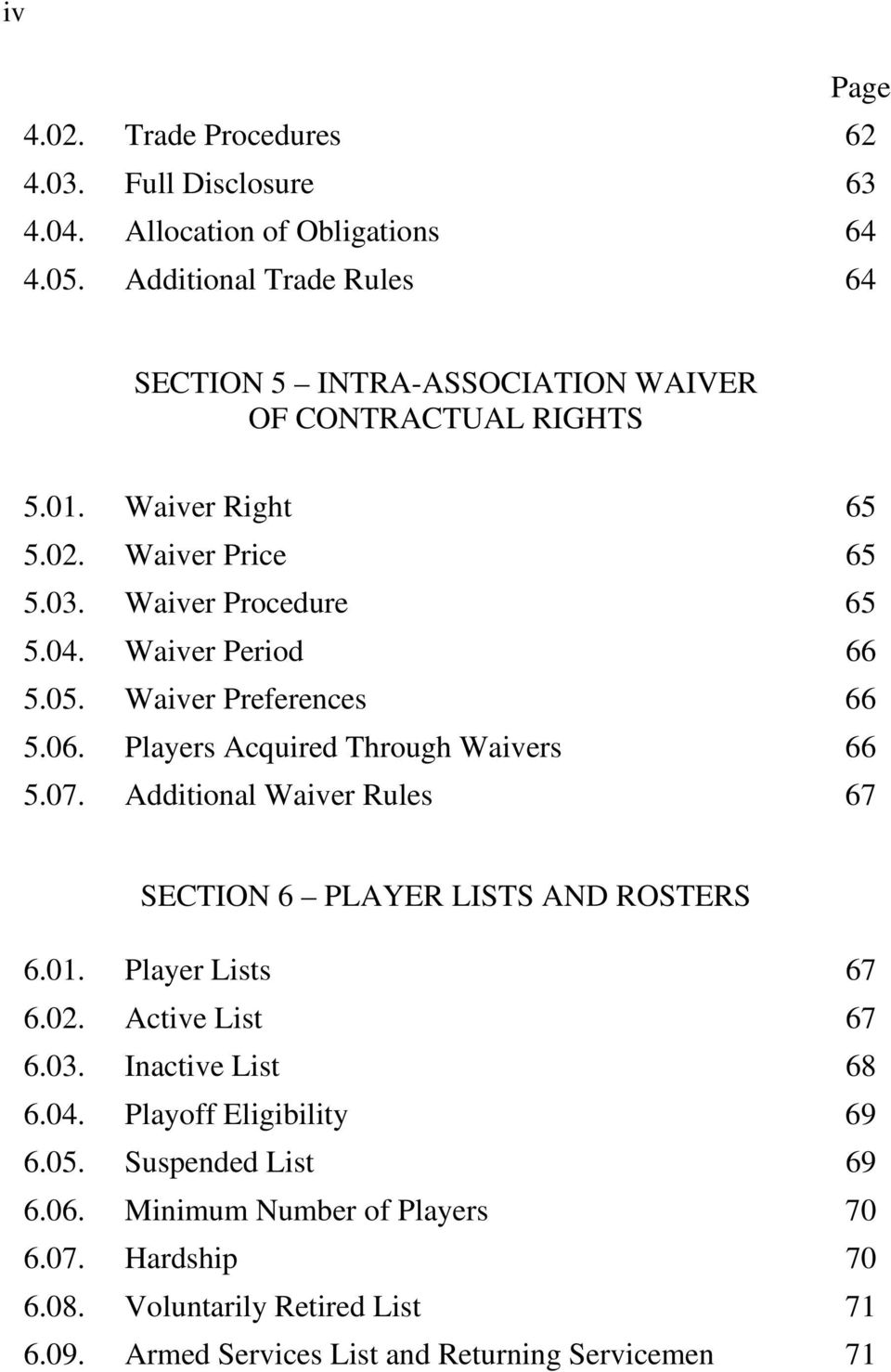 Waiver Period 66 5.05. Waiver Preferences 66 5.06. Players Acquired Through Waivers 66 5.07. Additional Waiver Rules 67 SECTION 6 PLAYER LISTS AND ROSTERS 6.01.