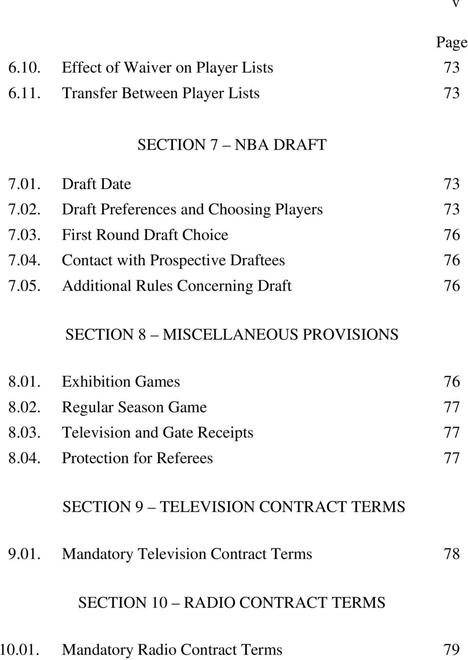 Additional Rules Concerning Draft 76 SECTION 8 MISCELLANEOUS PROVISIONS 8.01. Exhibition Games 76 8.02. Regular Season Game 77 8.03.