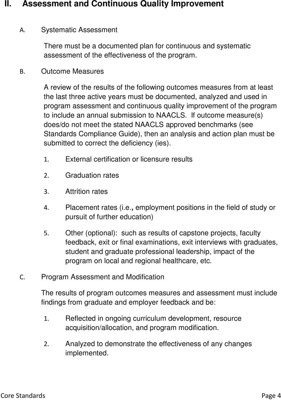quality improvement of the program to include an annual submission to NAACLS.