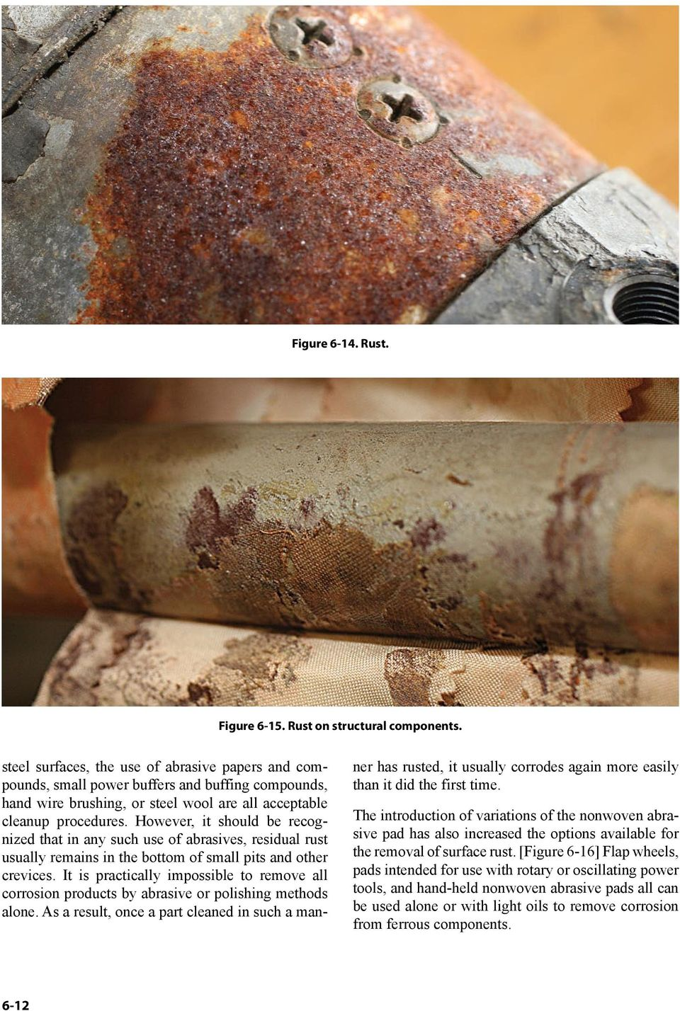However, it should be recognized that in any such use of abrasives, residual rust usually remains in the bottom of small pits and other crevices.