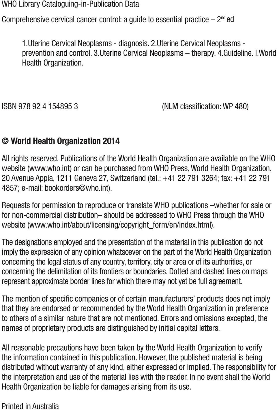 Publications of the World Health Organization are available on the WHO website (www.who.