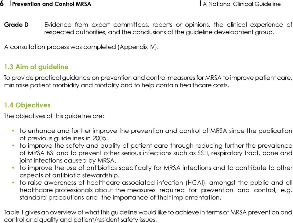 3 Aim of guideline To provide practical guidance on prevention and control measures for MRSA to improve patient care, minimise patient morbidity and mortality and to help contain healthcare costs. 1.