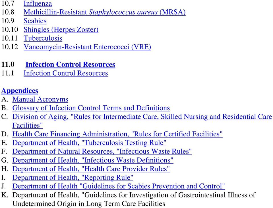 "Division of Aging, ""Rules for Intermediate Care, Skilled Nursing and Residential Care Facilities"" D. Health Care Financing Administration, ""Rules for Certified Facilities"" E."