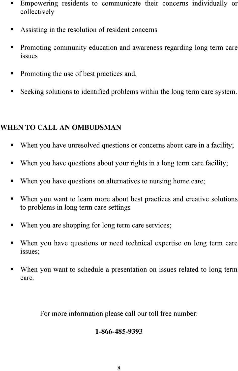 michigan long term care ombudsman program fact sheets brad geller