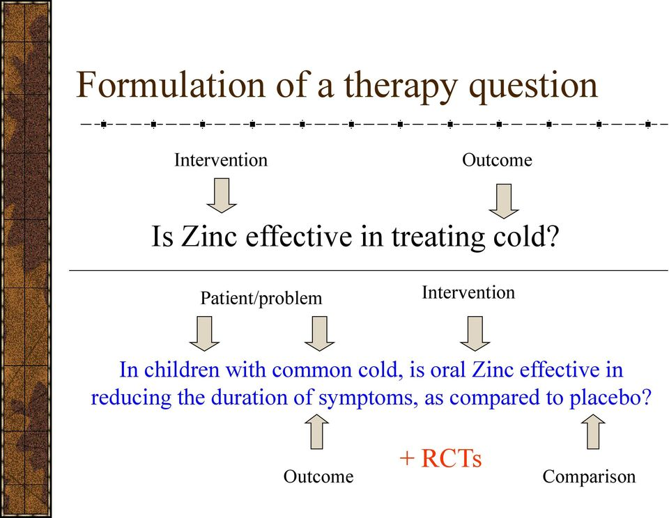 Patient/problem Intervention In children with common cold, is