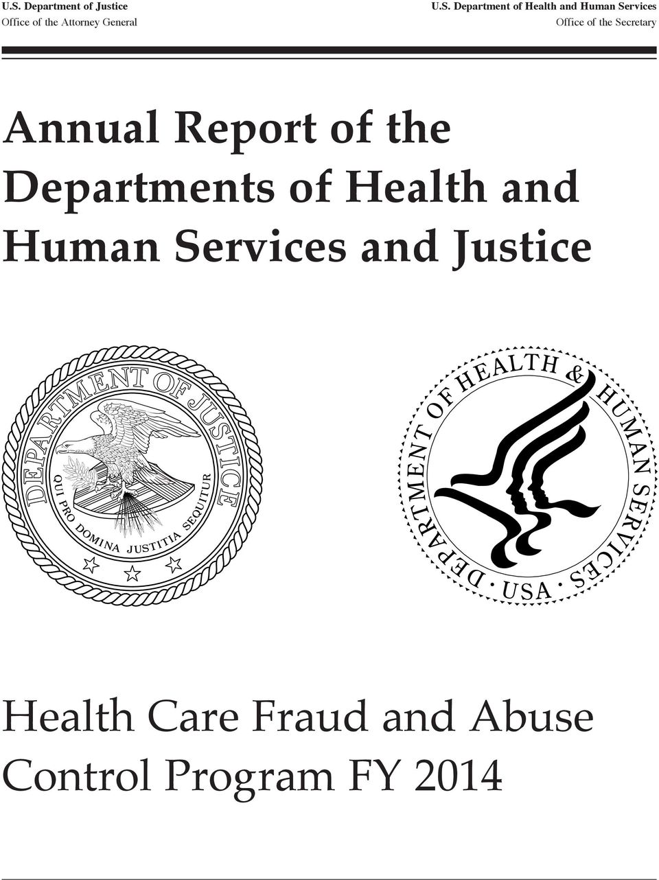 Secretary Annual Report of the Departments of Health and Human