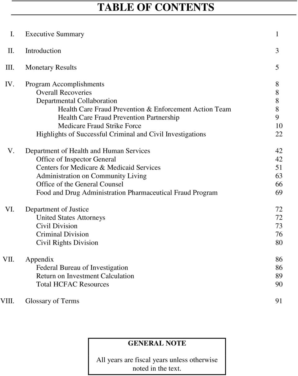 Force 10 Highlights of Successful Criminal and Civil Investigations 22 V.