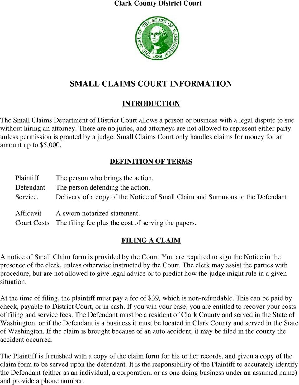 Small Claims Court Definition