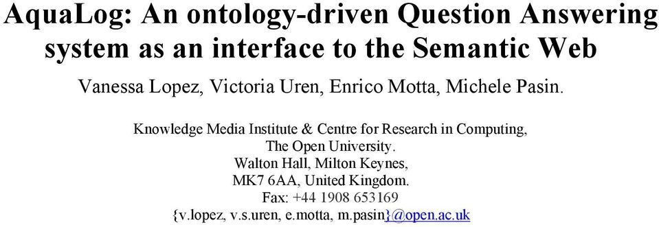 Knowledge Media Institute & Centre for Research in Computing, The Open University.