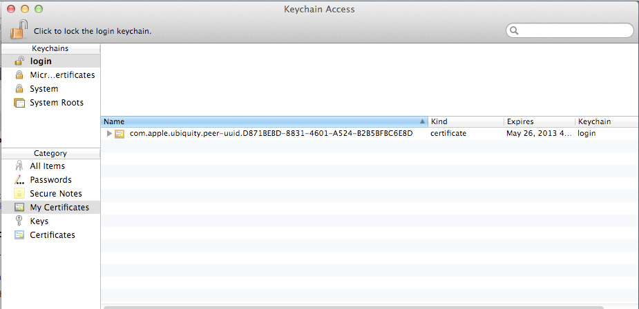 5. Open the Keychain Access utility, found in the Utilities folder in your Applications folder. 6. Click on the My Certificates category on the left. 6 7.