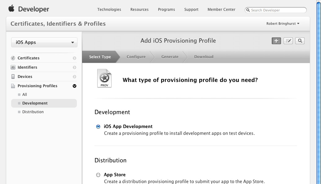 4. Select ios App Development, and click Continue.