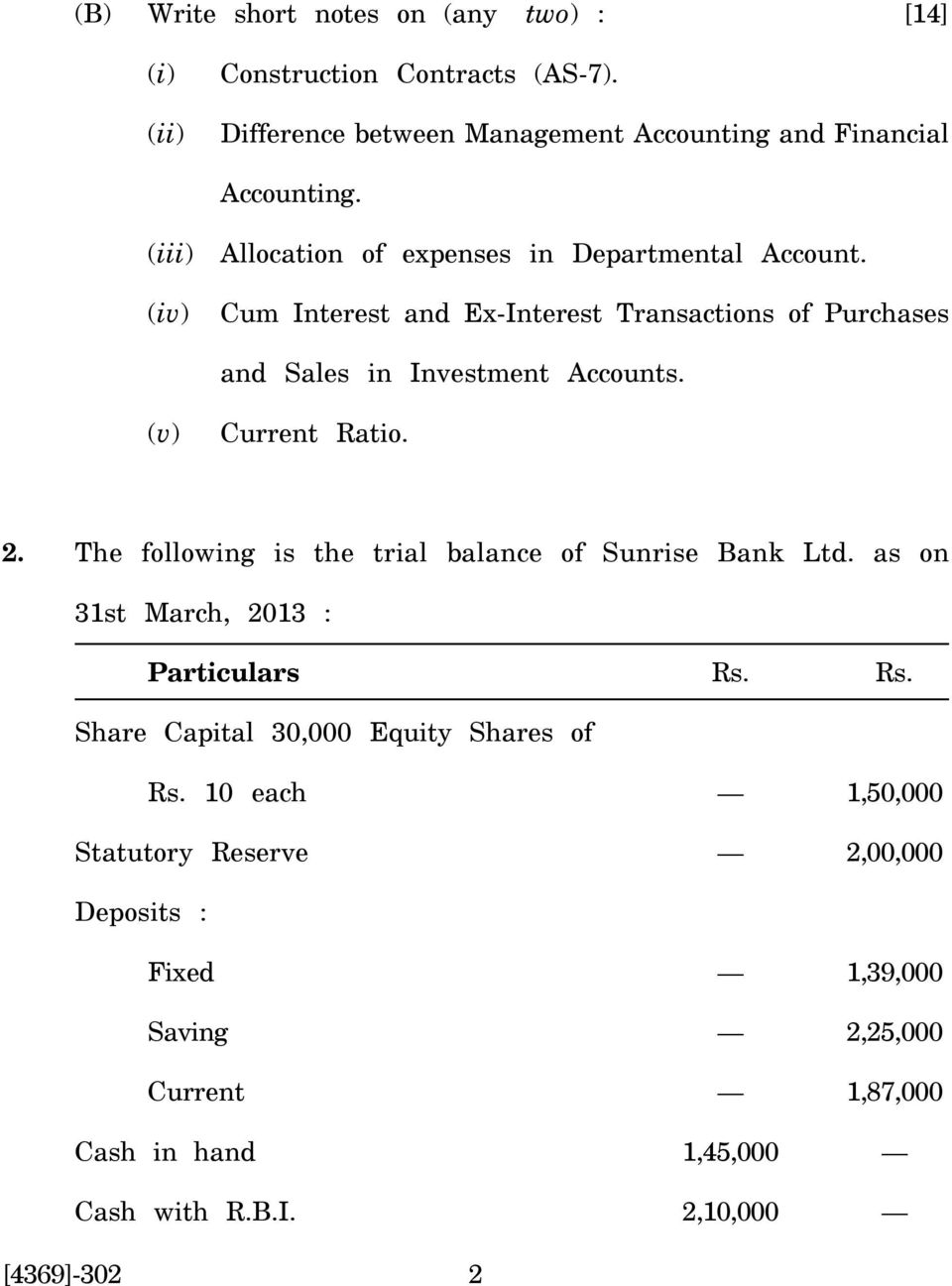 (v) Current Ratio. 2. The following is the trial balance of Sunrise Bank Ltd. as on 31st March, 2013 : Particulars Rs.