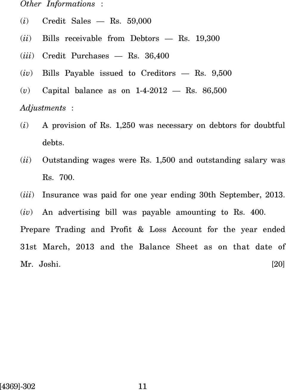 1,250 was necessary on debtors for doubtful debts. Outstanding wages were Rs. 1,500 and outstanding salary was Rs. 700.
