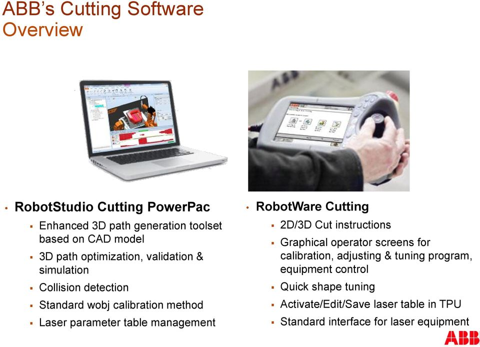 management RobotWare Cutting 2D/3D Cut instructions Graphical operator screens for calibration, adjusting & tuning