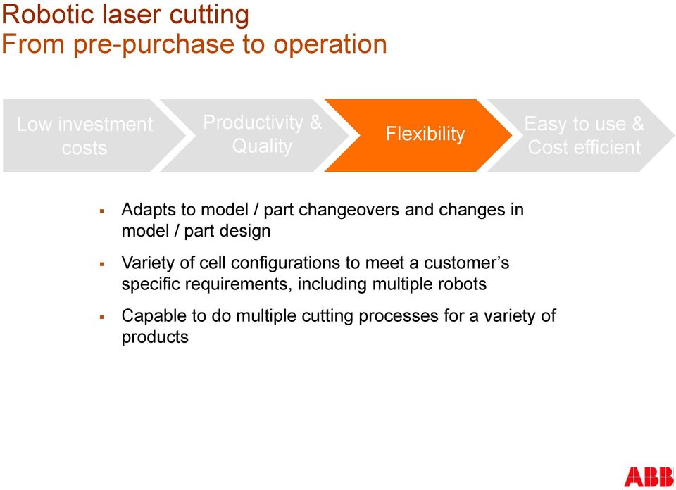 changes in model / part design Variety of cell configurations to meet a customer s specific