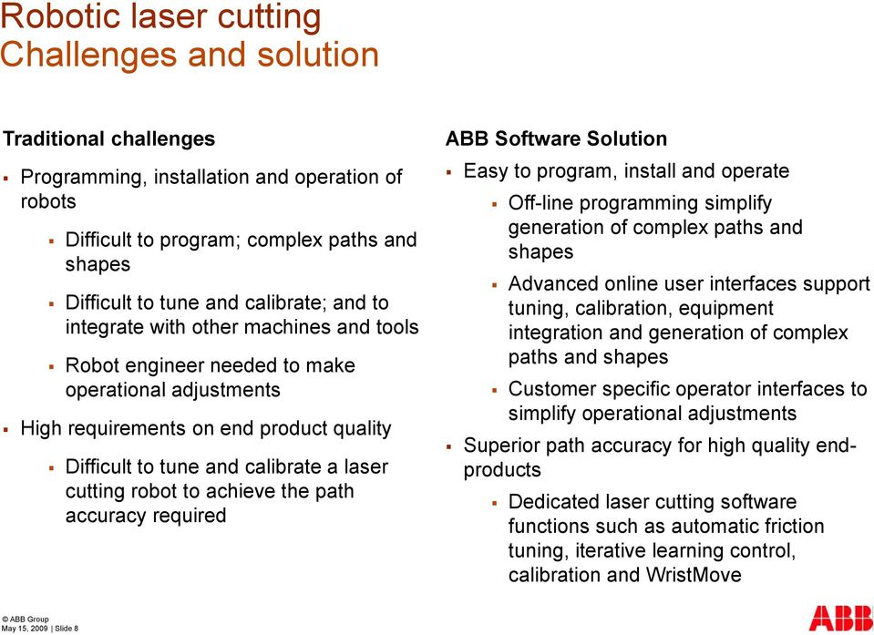 achieve the path accuracy required ABB Software Solution Easy to program, install and operate Off-line programming simplify generation of complex paths and shapes Advanced online user interfaces
