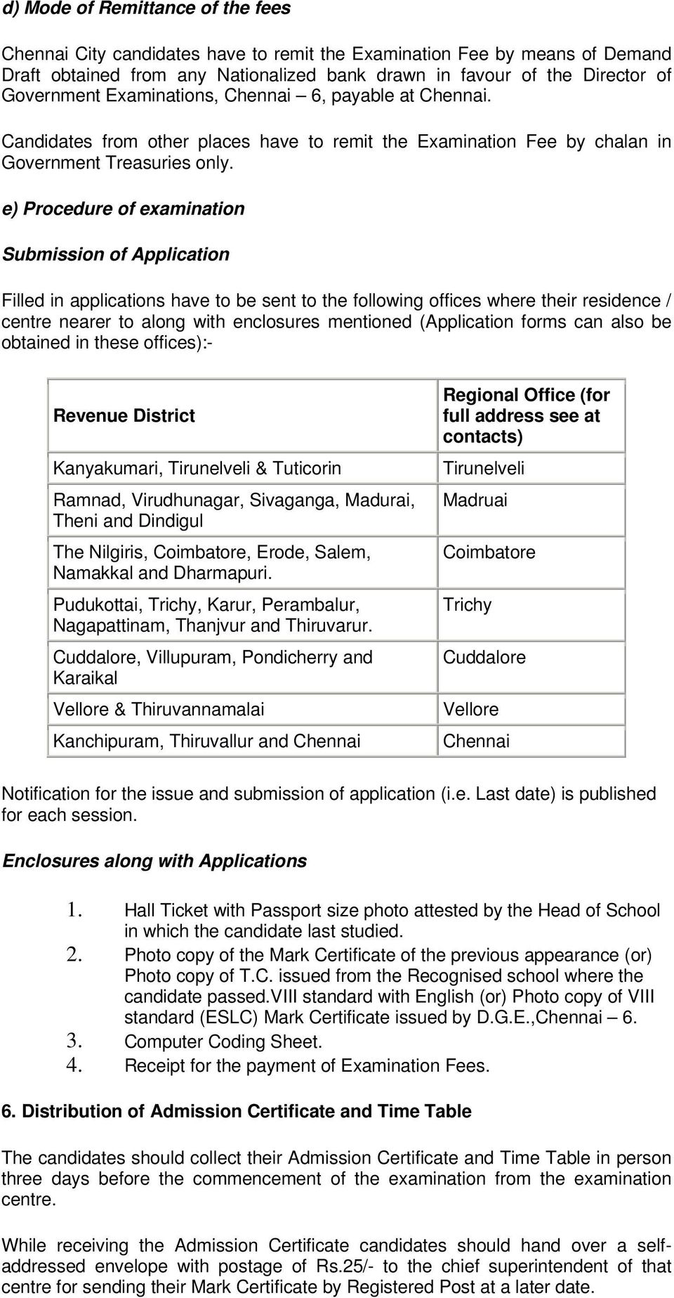 e) Procedure of examination Submission of Application Filled in applications have to be sent to the following offices where their residence / centre nearer to along with enclosures mentioned