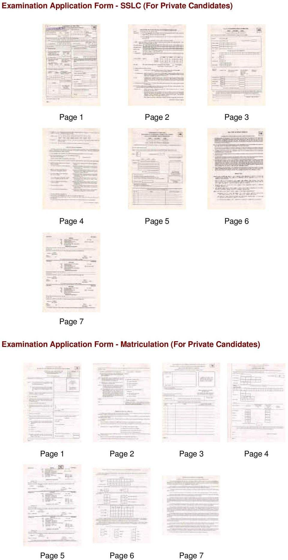 Page 7 Examination Application Form - Matriculation (For