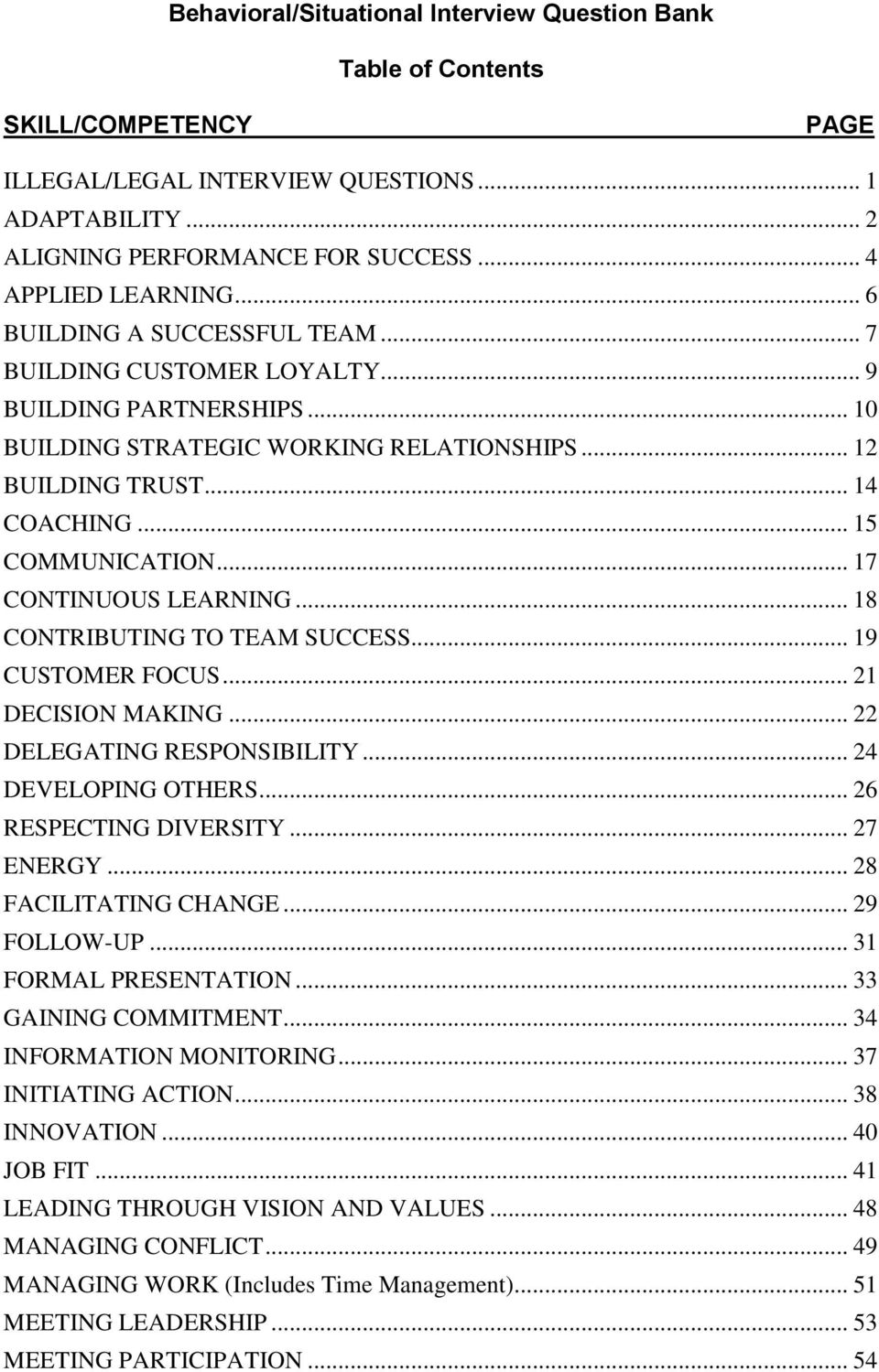 behavioral situational interview question bank table of contents 17 continuous learning 18 contributing to team success