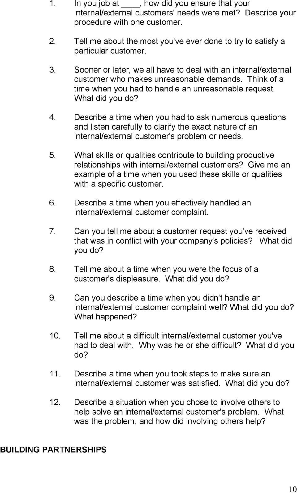 behavioral situational interview question bank table of contents think of a time when you had to handle an unreasonable request what did you