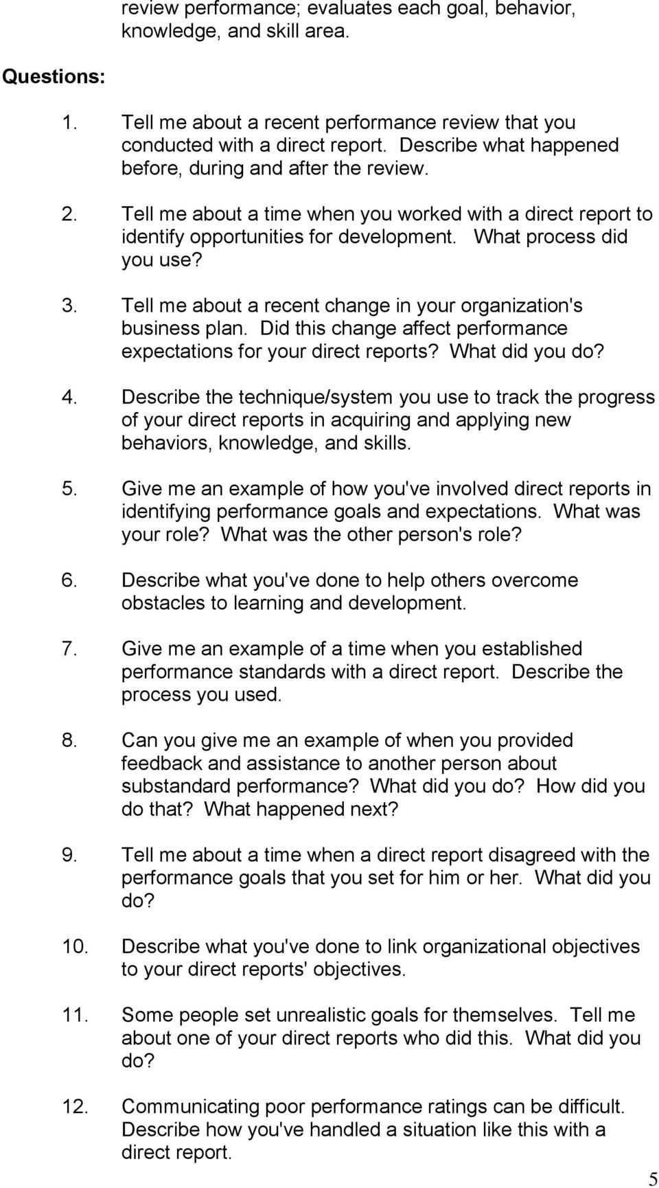 behavioral situational interview question bank table of contents tell me about a recent change in your organization s business plan did this change affect