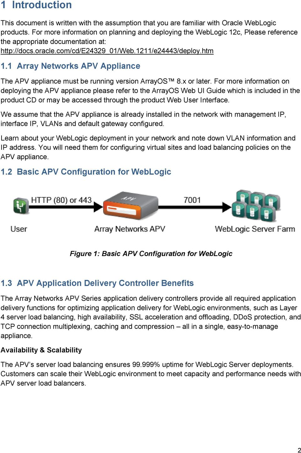 1 Array Networks APV Appliance The APV appliance must be running version ArrayOS 8.x or later.