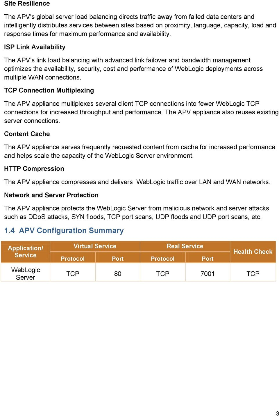 ISP Link Availability The APV s link load balancing with advanced link failover and bandwidth management optimizes the availability, security, cost and performance of WebLogic deployments across