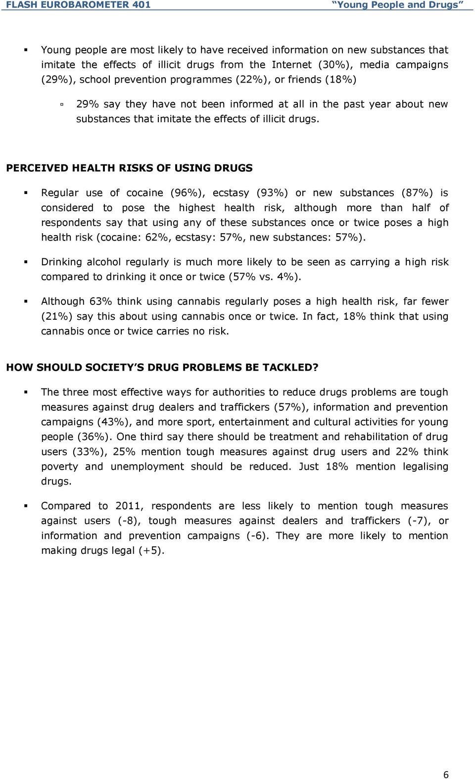 PERCEIVED HEALTH RISKS OF USING DRUGS Regular use of cocaine (96%), ecstasy (93%) or new substances (87%) is considered to pose the highest health risk, although more than half of respondents say