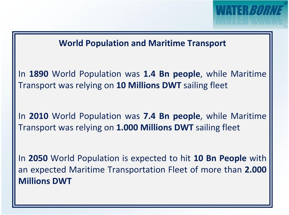 Population was 7.4 Bn people, while Maritime Transport was relying on 1.