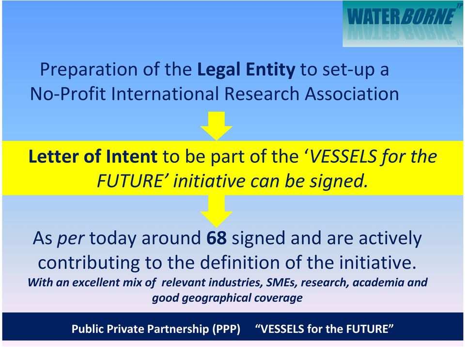As pertoday around 68signed and are actively contributing to the definition of the initiative.